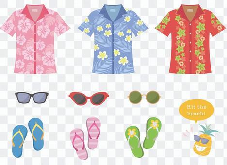 阿羅哈襯衫和太陽鏡和沙灘涼鞋