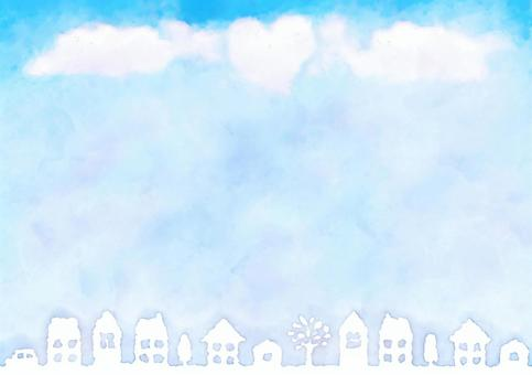 Frame of the blue sky · cityscape and clouds · watercolor