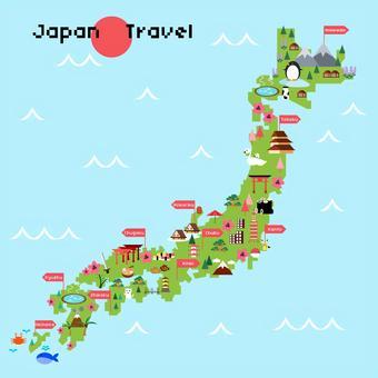 日本地圖上的旅遊景點的插圖