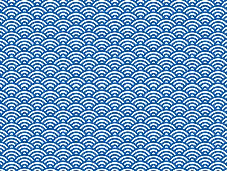 日本紋青海波浪紋藍白