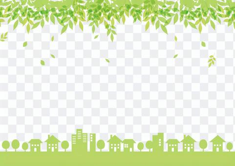 城市景观框架新的绿色_春天