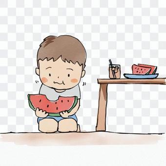 西瓜を食べる男の子