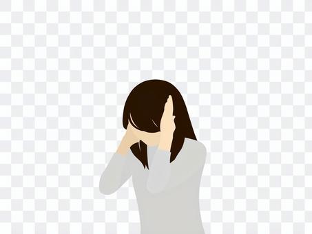 一個閉著耳朵的女人_抬起頭/低頭
