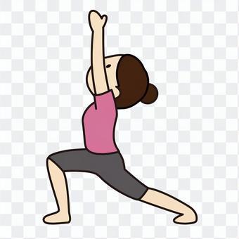 """一個女人與瑜伽姿勢""""戰士姿勢"""""""