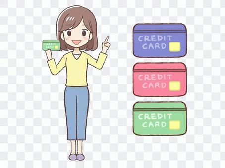 婦女穿著便衣和五顏六色的信用卡