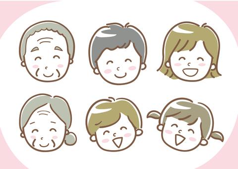 Family smiling smile illustration three generations