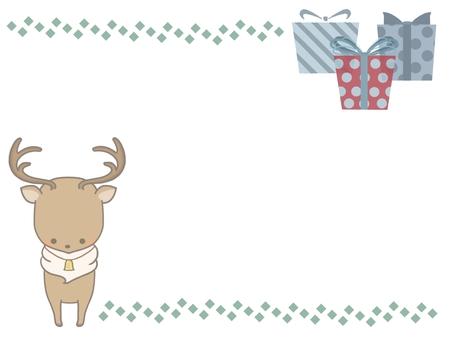 提供馴鹿和禮品框架線