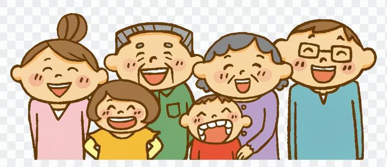 家庭(笑祖父母,夫妻和孩子)
