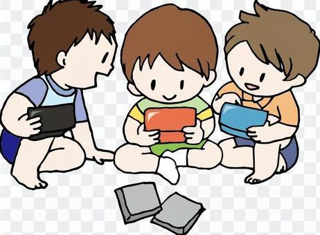 Boys playing games