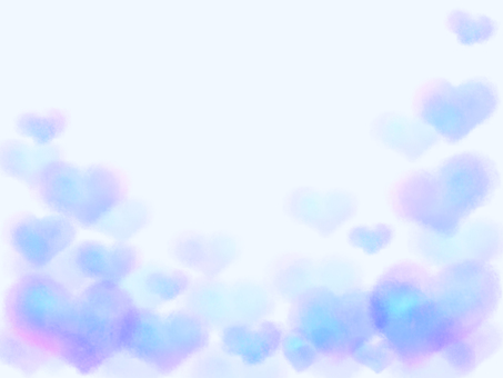 Watercolor heart background / frame (blue)