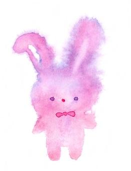 夢川兔毛絨透明水彩手繪