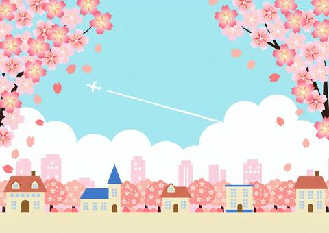 Cherry blossoms in full bloom and blue sky cityscape background horizontal