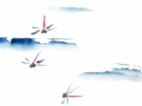 墨系列蜻蜓和天空