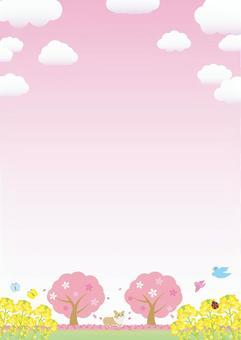 與春天櫻桃框架垂直類型的風景