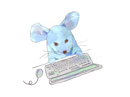 遠程辦公鼠標的手寫的插圖
