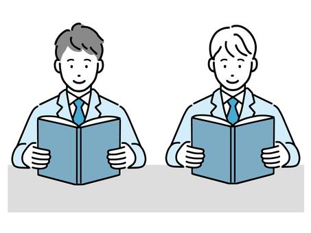 高中男生靜靜地看課本