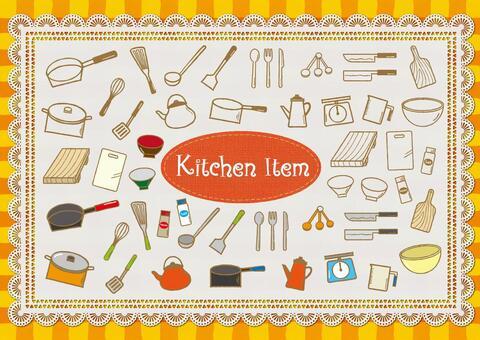 手繪風格的廚房用品