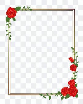 紅玫瑰對角框·裝飾框長度01