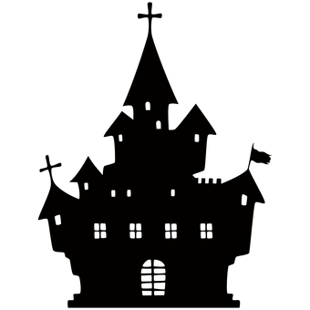 Creepy castle silhouette Western-style building transparent
