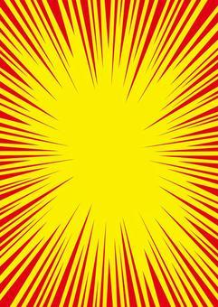 濃縮線·效果線(卡通)數據素材☆縱向黃紅色