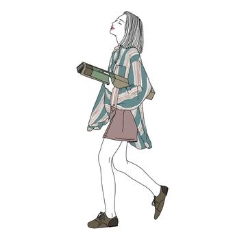 一個時尚女孩的插圖