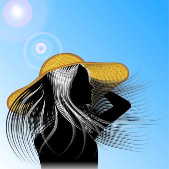 Hair straight straw hat sunshine