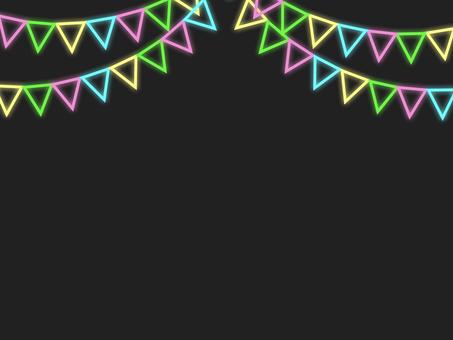 霓虹燈三角旗花環框B