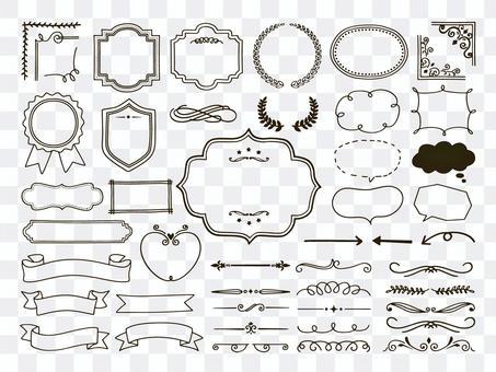 手繪裝飾框架和絲帶套裝
