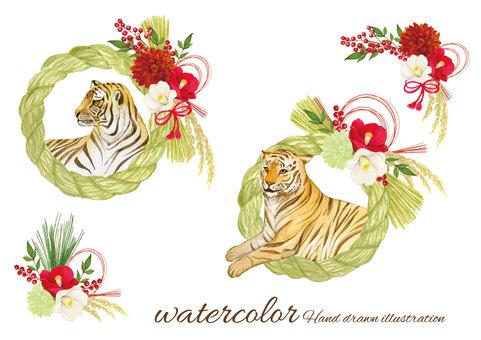 Watercolor tiger and shimenawa ornament