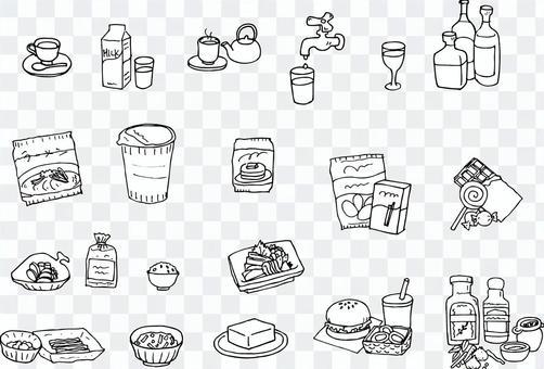 飲料と食品(モノクロ詰め合わせセット)