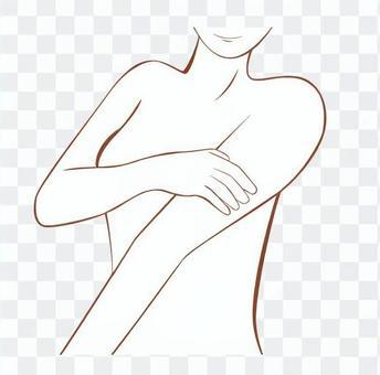 一個裸體女人的畫線的上身