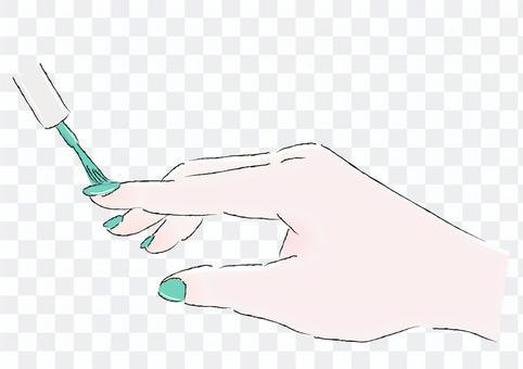 マニキュアを塗る手緑イラスト