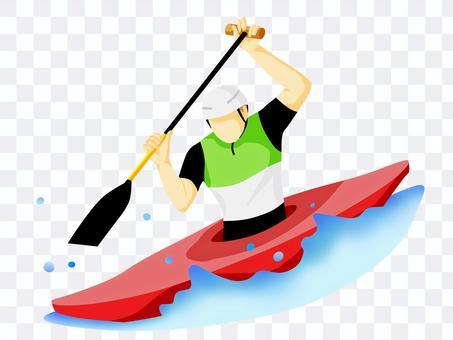 Athletes canoeing
