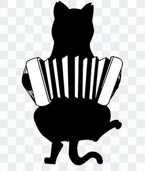 黑貓剪影手風琴