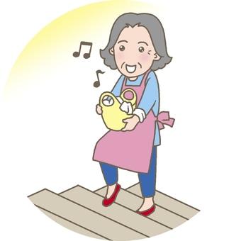 精力充沛地走上樓梯的前輩