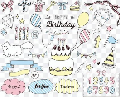 生日少女手寫插圖素材