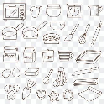 烹飪線描圖標