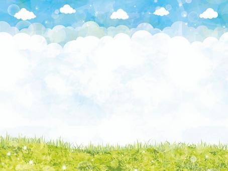 框架藍天春天初夏船隻手寫背景牆紙草