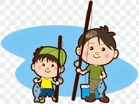 釣りをする親子