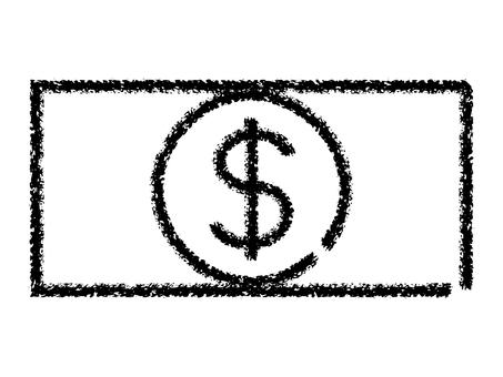 鬆散的蠟筆手寫美元鈔票圖標:黑色