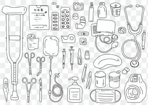 手寫線條藝術插圖集醫療設備