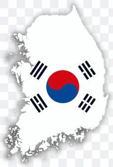 韓國地圖國旗