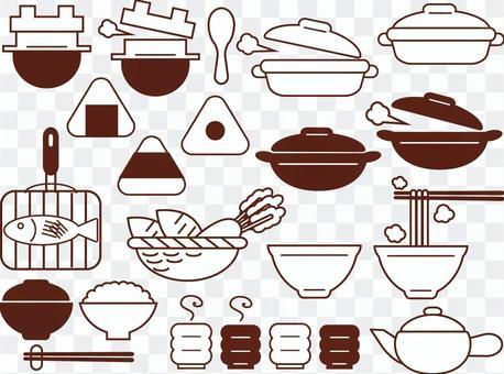 圖標風格廚房用具插圖集