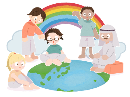 世界各地的人們笑著共存的社會