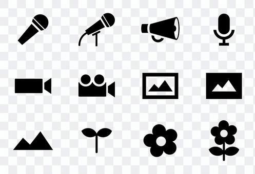 Microphone, loudspeaker, movie, plant icon