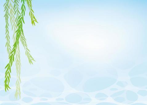 楊柳,背景,A4寬度,與填充的腳