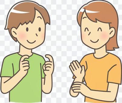 男性和女性在手語發言