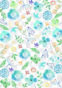 斯堪的納維亞風格_水彩花卉圖案_藍色系統_垂直2665