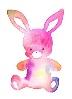彩虹兔毛絨透明水彩手繪