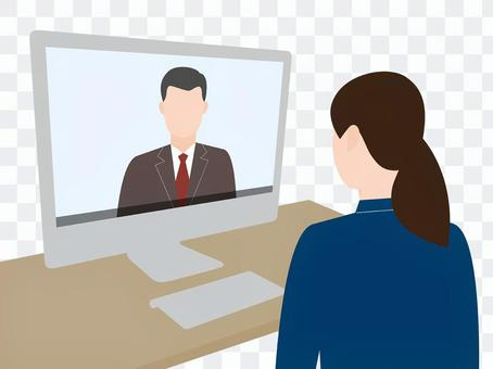 オンラインで会話する女性